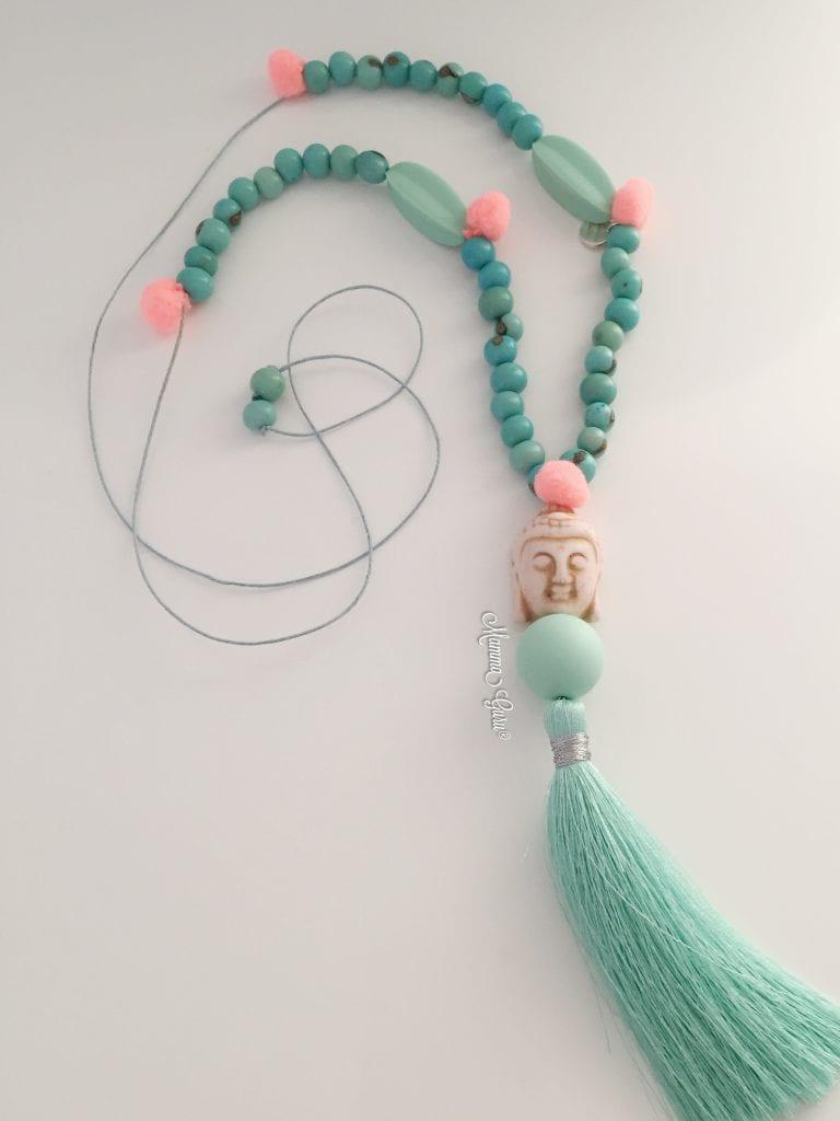 Collana in stile Boho con Açai, Howlite, Perle in Silicone alimentare, Pompon, Nappa